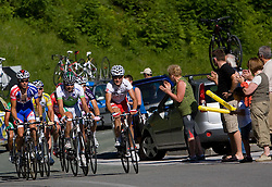 Kristjan Fajt (SLO) of Adria Mobil and Jure Golcer   (SLO) of Slovenian National Team at 1st stage of Tour de Slovenie 2009 from Koper (SLO) to Villach (AUT),  229 km, on June 18 2009, in Koper, Slovenia. (Photo by Vid Ponikvar / Sportida)