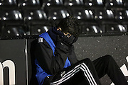 The ball boy couldn't watch at times during the Sky Bet Championship match between Fulham and Ipswich Town at Craven Cottage, London, England on 15 December 2015. Photo by Matthew Redman.