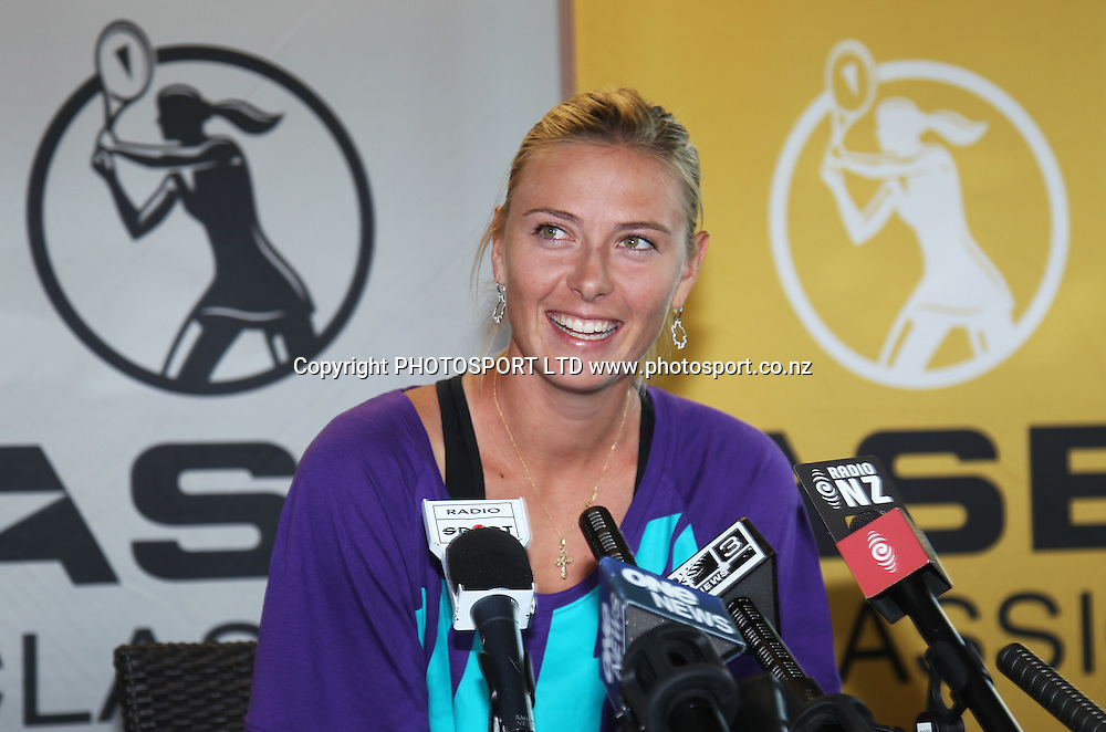 Russia's Maria Sharapova talks to the media during a press conference and meet the seeds for the 2011 ASB Classic at the ASB Tennis Centre, Auckland, New Zealand. Saturday 1 January 2011 Photo: Andrew Cornaga/photosport.co.nz