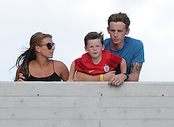Coleen Rooney, with eldest Son Kai watch as Wayne Rooney of England (Manchester United) walks out  - Mandatory byline: Joe Meredith/JMP - 07966386802 - 05/09/2015 - FOOTBALL- INTERNATIONAL - San Marino Stadium - Serravalle - San Marino v England - UEFA EURO Qualifers Group Stage