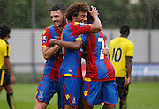Palace celebrate their third of the match during the Final Thirds Development League match between U21 Crystal Palace and U21 Watford at Selhurst Park, London, England on 24 August 2015. Photo by Michael Hulf.