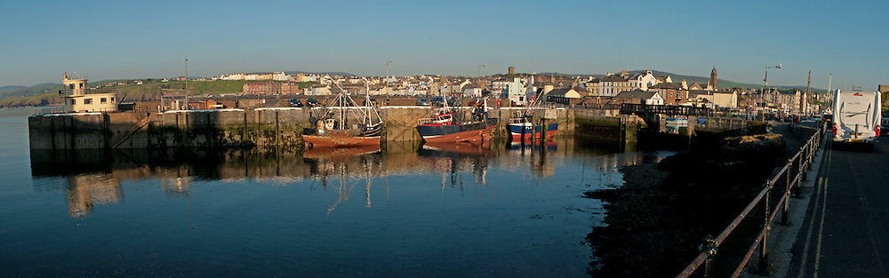 Boats moored at East Quay in Peel, Isle of Man.