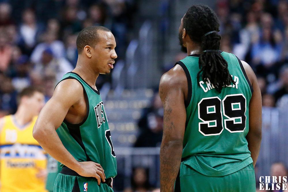10 March 2017: Boston Celtics guard Avery Bradley (0) talks to Boston Celtics forward Jae Crowder (99) during the Denver Nuggets 119-99 victory over the Boston Celtics, at the Pepsi Center, Denver, Colorado, USA.