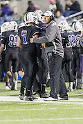 Cedar Ridge head coach Todd Ford with Michael McCann Thursday at Kelly Reeves Athletic Complex.  (LOURDES M SHOAF for Round Rock Leader)