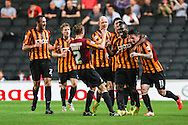 Aaron McLean of Bradford City (2nd right) celebrates scoring the opening goal during the Sky Bet League 1 match at stadium:mk, Milton Keynes<br /> Picture by David Horn/Focus Images Ltd +44 7545 970036<br /> 16/09/2014