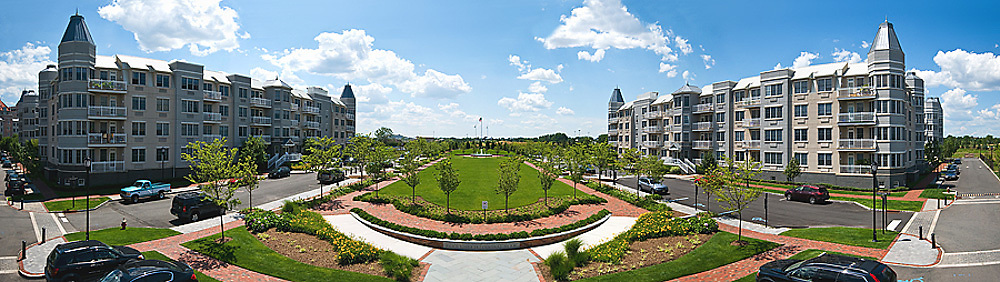 Panoramic image of the center plaza at a large condo complex in NJ.