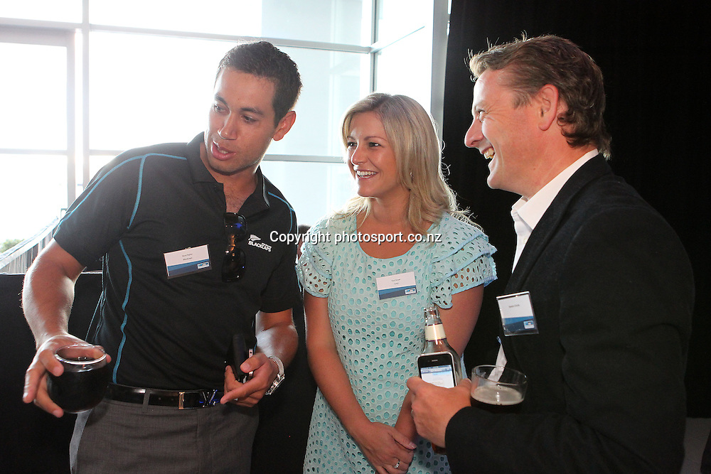 Black Cap Ross Taylor with TVNZ Breakfast hosts Toni Street Rawdon Christie at the ANZ International Cricket Series Launch at Bellini, Hilton Hotel Auckland, 7 February 2013