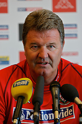 Rimini, Italy - Tuesday, October 16, 2007: Wales' manager John Toshack at a press conference at the Le Meridian Hotel in Rimini ahead of the Group D UEFA Euro 2008 Qualifying match against San Marino. (Photo by David Rawcliffe/Propaganda)
