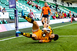 Callum Sirker of Wasps scores a try - Mandatory by-line: Robbie Stephenson/JMP - 13/09/2019 - RUGBY - Franklin's Gardens - Northampton, England - Bath Rugby 7s v Wasps 7s - Premiership Rugby 7s