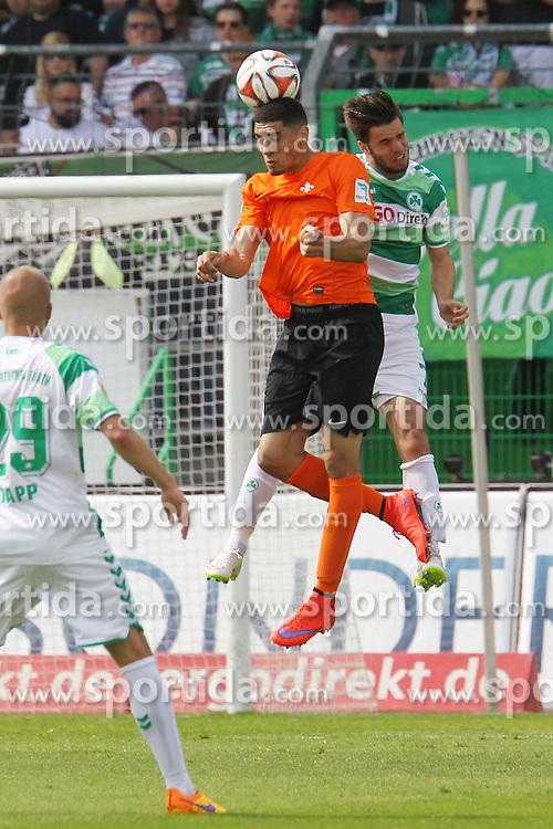 17.05.2015, Stadion am Laubenweg, Fuerth, GER, 2. FBL, SpVgg Greuther Fuerth vs SV Darmstadt 98, 33. Runde, im Bild Leon Balogun (Darmstadt) beim Kopfball mit Niko Gie&szlig;elmann, Giesselmann (Fuerth), v: Marco Rupp (Fuerth) // during the 2nd German Bundesliga 33th round match between SpVgg Greuther Fuerth and SV Darmstadt 98 at the Stadion am Laubenweg in Fuerth, Germany on 2015/05/17. EXPA Pictures &copy; 2015, PhotoCredit: EXPA/ Eibner-Pressefoto/ Roskaritz<br /> <br /> *****ATTENTION - OUT of GER*****