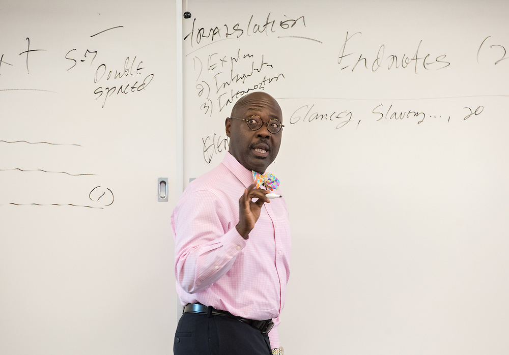 Photo by Mara Lavitt<br /> September 14, 2016<br /> Yale Divinity School, New Haven.<br /> Assoc. Professor Williie Jennings in class.