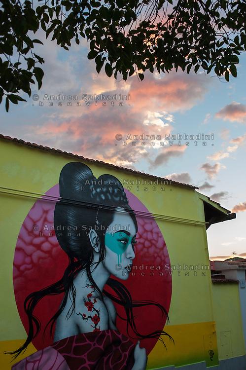 Street art del progetto Museo di Urban Art di Roma, opera di Fin Dac in<br /> via degli Ortenzi al  Quadraro vecchio.