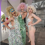 Drag queens strutting across the walkways? DJs pumping out tunes underneath?  the LGBTQ+ collective Sink The Pink ahead of Pride in London at The Tides Festival at Greedwich Peninsula, on 5 July 2019, London, UK.