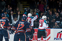 KELOWNA, CANADA - MARCH 25: Calvin Thurkauf #27 and Reid Gardiner #23 of the Kelowna Rockets celebrate a goal against the Kamloops Blazers on March 25, 2017 at Prospera Place in Kelowna, British Columbia, Canada.  (Photo by Marissa Baecker/Shoot the Breeze)  *** Local Caption ***