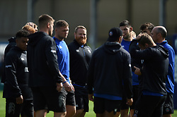 Bath Rugby players huddle together prior to the match - Mandatory byline: Patrick Khachfe/JMP - 07966 386802 - 21/09/2019 - RUGBY UNION - Sandy Park - Exeter, England - Exeter Chiefs v Bath Rugby - Premiership Rugby Cup