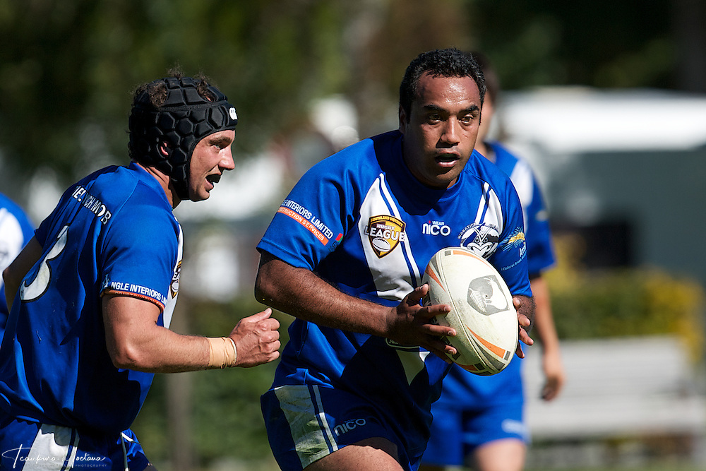 Taika Brooks of the Giants makes a break during the preaseason Rugby league game between the Wakatipu Giants and Hornby U18s at the Jack Reid Park, Arrowtown, New Zealand. Saturday, March 17, 2012. Credit:Teaukura Moetaua / Media Sport