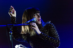 © Licensed to London News Pictures. 25/06/2013. London, UK.   Melody's Echo Chamber performing live at Hammersmith Apollo, supporting headliner Tame Impala.   Melody's Echo Chamber is a dream pop/psychedelic rock project of French-born Melody Prochet.  Photo credit : Richard Isaac/LNP