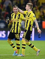 FUSSBALL  CHAMPIONS LEAGUE  HALBFINALE  HINSPIEL  2012/2013      Borussia Dortmund - Real Madrid              24.04.2013 Freude nach dem Abpfiff: Mario Goetze (li) und Marco Reus (re, beide Borussia Dortmund)