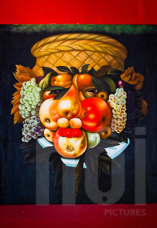 Freaky fruit face painting at Saint Honore, Hanoi, Vietnam, Asia