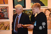 STANLEY JOHNSON; THEO JOHNSON, Exhibition opening of paintings by Charlotte Johnson Wahl. Mall Galleries. London, 10 September 2015.