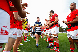 Bristol Rugby Hooker Marc Jones (capt) leads his side through a London Welsh tunnel after Bristol win the match 22-36 - Mandatory byline: Rogan Thomson/JMP - 07966 386802 - 13/09/2015 - RUGBY UNION - Old Deer Park - Richmond, London, England - London Welsh v Bristol Rugby - Greene King IPA Championship.