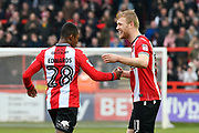 Goal - Jayden Stockley (11) of Exeter City celebrates scoring a goal to make the score 3-1 with Kyle Edwards (28) of Exeter City during the EFL Sky Bet League 2 match between Exeter City and Swindon Town at St James' Park, Exeter, England on 24 March 2018. Picture by Graham Hunt.
