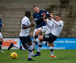 Falkirk's Michael Tidser tackles Raith Rovers Regan Hendry. Raith Rovers 2 v 2 Falkirk, Scottish Football League Division One played 5/9/2019 at Stark's Park, Kirkcaldy.