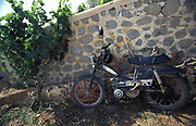 An old motorbike sits against a wall, France, 1990s.
