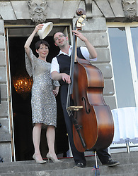 Aisling Smyth and Michael Halloran from Ain&rsquo;t Misbehavin Jazz Trio at the Westport Food Festival Mid Summer Banquet at Westport House.<br /> Pic Conor McKeown