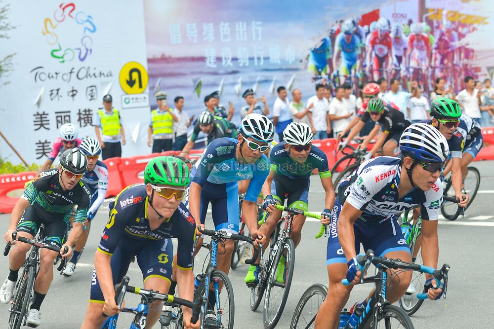 September 24, 2017 - Zhuhai, Guangdong, China - Riders on the U Turn during the fifth and final stage of the 2017 Tour of China 2, the 91.2km Zhuhai Hengqin Circuit Race. .On Sunday, 24 September 2017, in Hengqin district, Zhuhai City, Guangdong Province, China. (Credit Image: © Artur Widak/NurPhoto via ZUMA Press)