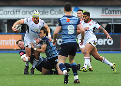 Luke Marshall of Ulster Rugby is tackled by Blaine Scully of Cardiff Blues - Mandatory by-line: Nizaam Jones/JMP- 24/03/2018 - RUGBY - BT Sport Cardiff Arms Park- Cardiff, Wales - Cardiff Blues v Ulster Rugby - Guinness Pro 14