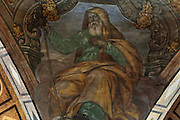 Ceiling fresco of Isaiah, old testament Hebrew prophet, in the alcoves of the Capella de la Santa Cinta, built 1672-1725 in Baroque style, in the Cathedral of St Mary, designed by Benito Dalguayre in Catalan Gothic style and begun 1347 on the site of a Romanesque cathedral, consecrated 1447 and completed in 1757, Tortosa, Catalonia, Spain. The cathedral has 3 naves with chapels between the buttresses and an ambulatory with radial chapels. Picture by Manuel Cohen