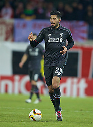 LIVERPOOL, ENGLAND - Thursday, December 10, 2015: Liverpool's Emre Can in action against FC Sion during the UEFA Europa League Group Stage Group B match at Stade de Tourbillon. (Pic by David Rawcliffe/Propaganda)