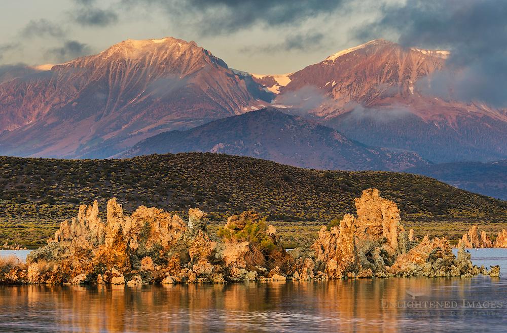 Morning light on mountains and tufa on the South Shore of Mono Lake, Mono County, Eastern Sierra, California