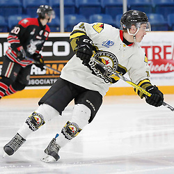 TRENTON, ON  - MAY 5,  2017: Canadian Junior Hockey League, Central Canadian Jr. &quot;A&quot; Championship. The Dudley Hewitt Cup. Game 7 between The Georgetown Raiders and The Powassan Voodoos.  Tyler Gervais-Rolfe #10 of the Powassan Voodoos skates up ice during the first period <br /> (Photo by Amy Deroche / OJHL Images)