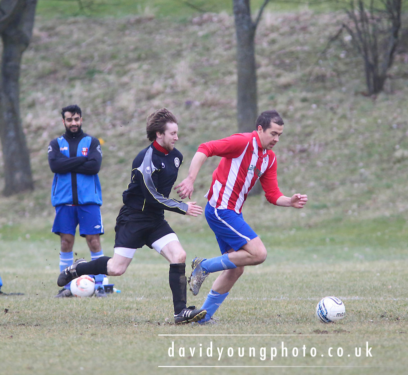 West End Athletic (black) v DC Athletic (red and white stripes) - Dundee Saturday Morning Football League Premier Division Cup<br /> <br />  - &copy; David Young - www.davidyoungphoto.co.uk - email: davidyoungphoto@gmail.com