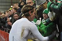 27/12/15 LADBROKES PREMIERSHIP<br /> HEARTS v CELTIC<br /> TYNECASTLE - EDINBURGH <br /> Celtic's Stefan Johansen (left) gives Jay Beatty his shirt