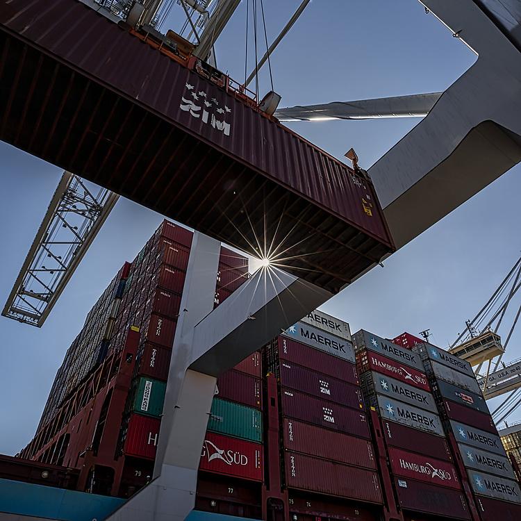 Jockey trucks and ship to shore cranes work the Maersk container ship Gustav Maersk the Georgia Ports Authority's Port of Savannah Garden City Terminal, Saturday, Sept., 21, 2019, in Savannah, Ga.  (GPA Photo/Stephen B. Morton)