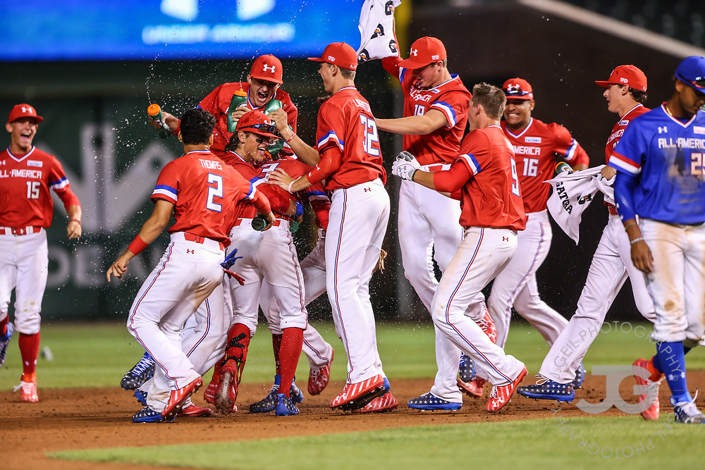 CHICAGO, IL - JULY 29:  American celebrates their walk off victory over National at the Under Armour All-America Game at Wrigley Field on Saturday, July 29, 2017 in Chicago, Illinois. (Photo by J. Geil/MLB Photos via Getty Images) *** Local Caption ***