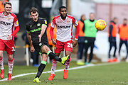Forest Green Rovers Christian Doidge(9) passes the ball forward during the EFL Sky Bet League 2 match between Stevenage and Forest Green Rovers at the Lamex Stadium, Stevenage, England on 26 January 2019.