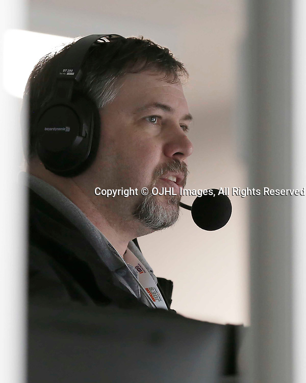 TRENTON, ON  - MAY 3,  2017: Canadian Junior Hockey League, Central Canadian Jr. &quot;A&quot; Championship. The Dudley Hewitt Cup. Game 3 between the Powassan Voodoos and the Dryden GM Ice Dogs. Broadcasters in the Media booth <br /> (Photo by Amy Deroche / OJHL Images)