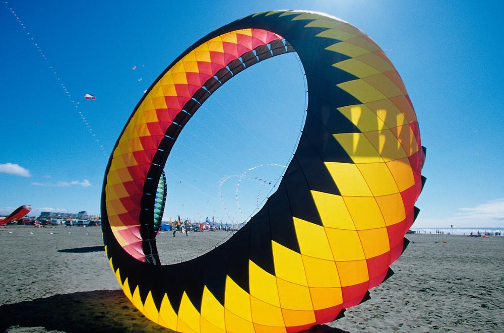 North America, USA, Washington, Long Beach. Large kite on the beach, annual Washington State Kite Festival