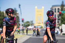 Leah Thorvilson (USA) and Katarzyna Niewiadoma (POL) of CANYON//SRAM Racing prepare for Stage 3 of the Amgen Tour of California - a 70 km road race, starting and finishing in Sacramento on May 19, 2018, in California, United States. (Photo by Balint Hamvas/Velofocus.com)