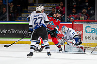 KELOWNA, BC - MARCH 11: Dillon Hamaliuk #22 of the Kelowna Rockets checks the net as Adam Evanoff #31 of the Victoria Royals makes a second period save at Prospera Place on March 11, 2020 in Kelowna, Canada. (Photo by Marissa Baecker/Shoot the Breeze)