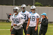 Carolina Panthers linebackers Brian Burns(53), Bruce Irvin(55), Sione Teuhems(46)  during minicamp at Bank of America Stadium, Thursday, June 13, 2019, in Charlotte, NC. (Brian Villanueva/Image of Sport)