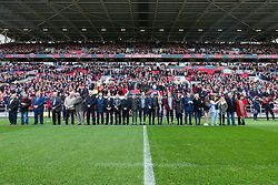Former players and Gerry's family line up for a minutes silence in memory of Bristol City legend Gerry Gow who recently passed away - Rogan Thomson/JMP - 22/10/2016 - FOOTBALL - Ashton Gate Stadium - Bristol, England - Bristol City v Blackburn Rovers - Sky Bet EFL Championship.