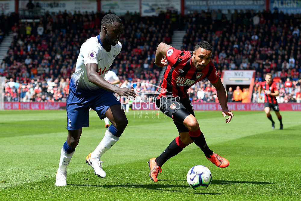 Davinson Sanchez (6) of Tottenham Hotspur battles for possession with Callum Wilson (13) of AFC Bournemouth during the Premier League match between Bournemouth and Tottenham Hotspur at the Vitality Stadium, Bournemouth, England on 4 May 2019.