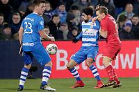(L-R) *Youness Mokhtar* of PEC Zwolle, *Jonas Svensson* of AZ Alkmaar