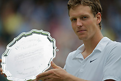 LONDON, ENGLAND - Sunday, July 4th, 2010: Tomas Berdych (CZE) with the runners' up trophy after losing the Gentlemen's Singles Final match on day thirteen of the Wimbledon Lawn Tennis Championships at the All England Lawn Tennis and Croquet Club. (Pic by David Rawcliffe/Propaganda)