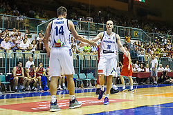 Jaka Blazic of Slovenia and Gasper Vidmar during friendly basketball match between National teams of Slovenia and Hungary on day 1 of Adecco Cup 2017, on August 4th in Arena Tabor, Maribor, Slovenia. Photo by Grega Valancic/ Sportida